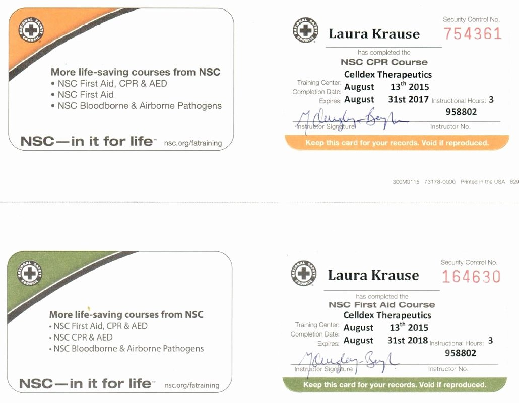 Nsc Cpr Course Certificate Template Fresh Work Certificates Laura L Krause