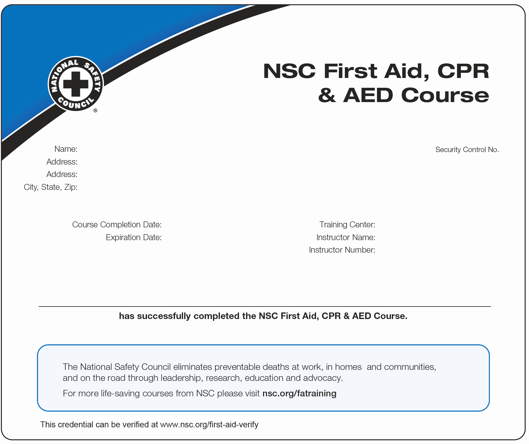 Nsc Cpr Course Certificate Template Luxury Sport Safety International Accredible Certificates