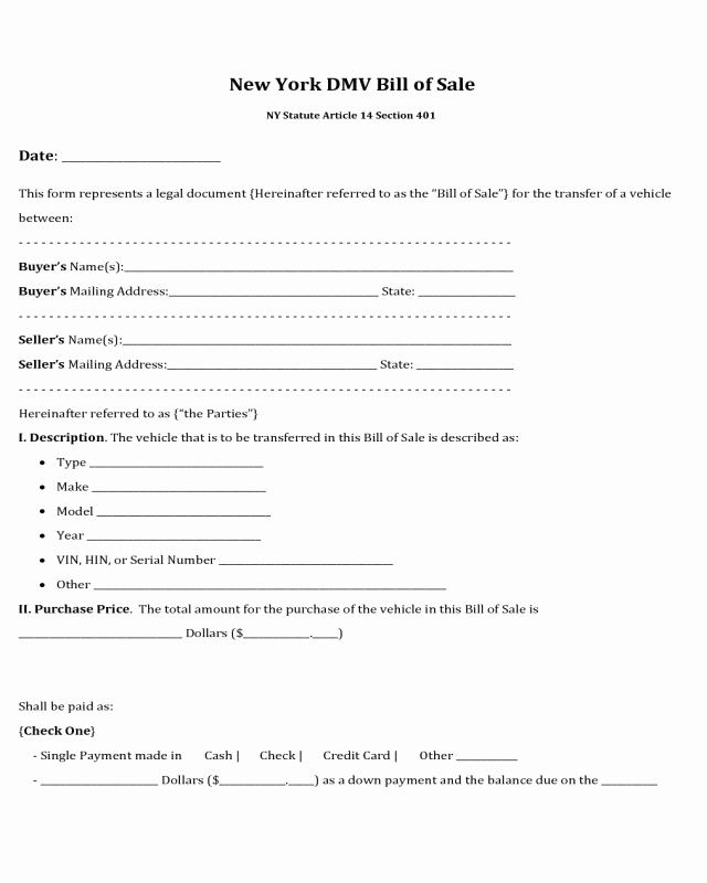 Nys Bill Of Sale Awesome 2018 Dmv Bill Of Sale form Fillable Printable Pdf