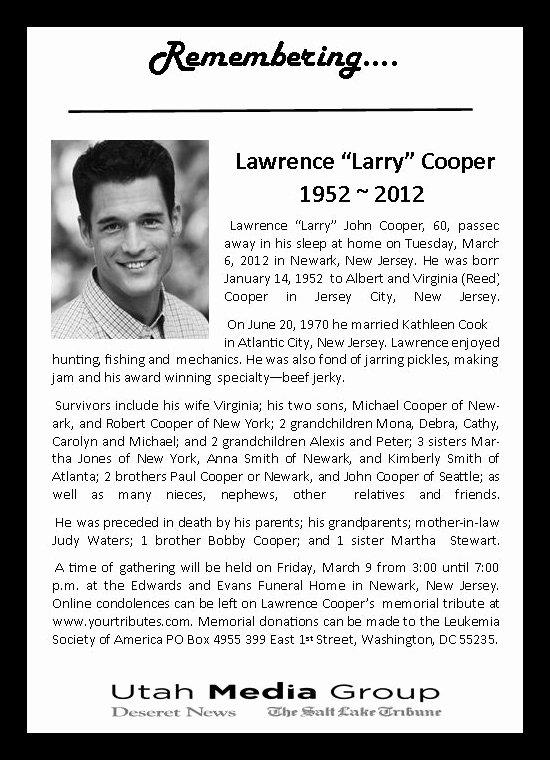 Obituary Notice Example Elegant Media E Of Utah Obituary Notice