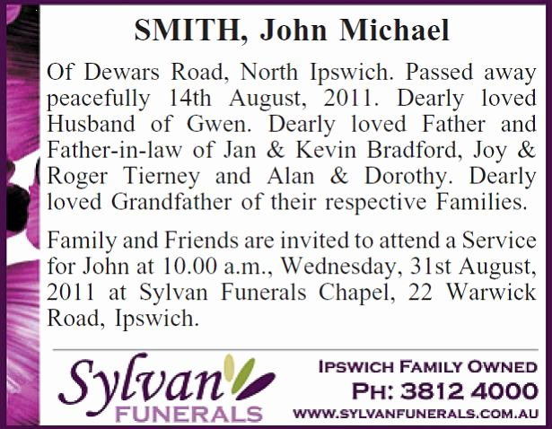 Obituary Notice Example Fresh Example Funeral Notice