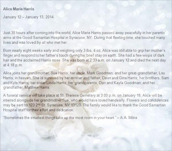 Obituary Notice Example Inspirational Newborn Baby Obituary Template atlas orion