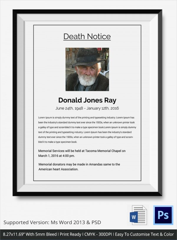 Obituary Notice Example New Sample Death Notice 14 Documents In Pdf Psd Word