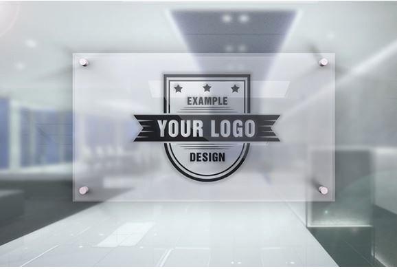 Office Door Name Plate Template Elegant Logo On Fice Door Glass Plate Effect Template