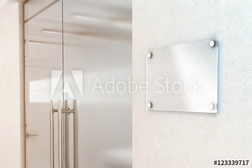 Office Door Name Plate Template New Blank Transparent Glass Sign Plate Design Mockup 3d