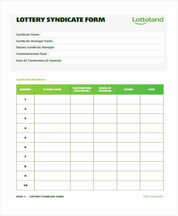 Office Lottery Contract Elegant Free 8 Lottery Syndicate Agreement form Samples In Sample