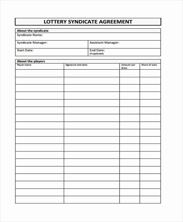 Office Lottery Contract Lovely Lottery Syndicate form Template