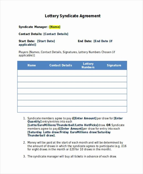 Office Lottery Contract Luxury Lottery Syndicate form Template