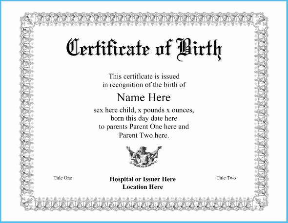 Official Birth Certificate Templates Awesome Ficial Birth Certificate Template 7130