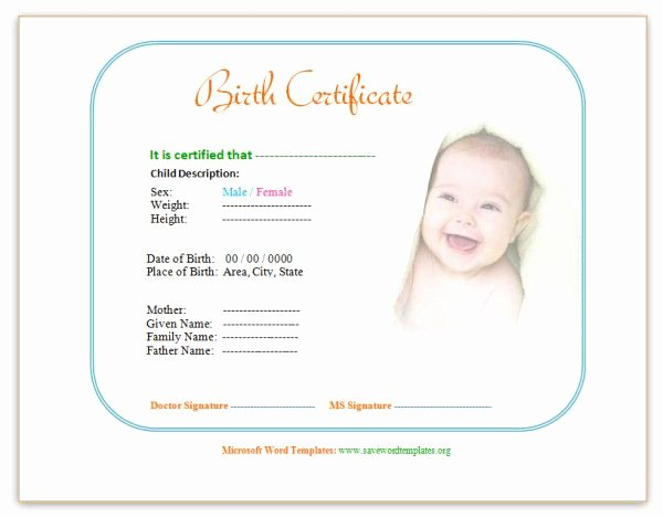 Official Birth Certificate Templates Beautiful Birth Certificate Template Ewordtemplates