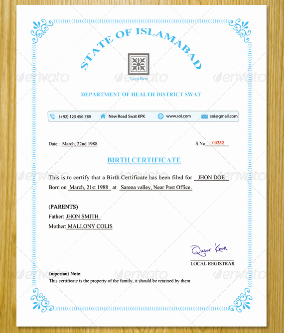 Official Birth Certificate Templates Luxury 13 Ficial Birth Certificate Templates Psd Ai Word