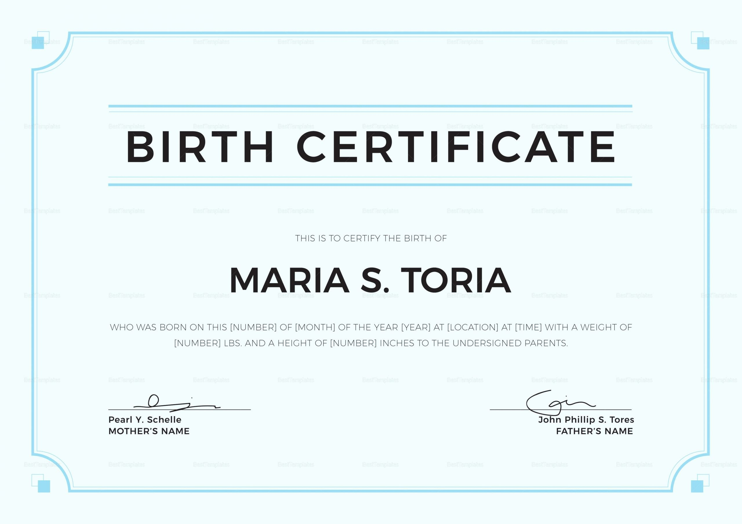 Official Blank Birth Certificate Template Elegant Blank Birth Certificate Design Template In Psd Word
