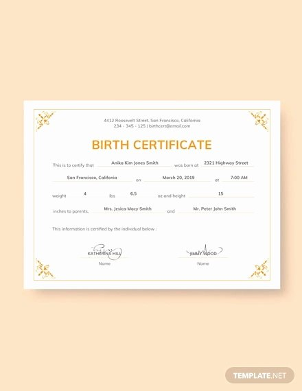 Official Blank Birth Certificate Template Inspirational Birth Certificate Template 38 Word Pdf Psd Ai