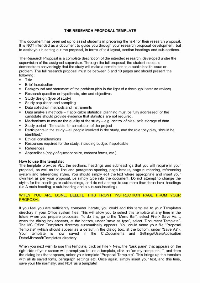 One Page Proposal Template Doc Elegant Research Proposal Template