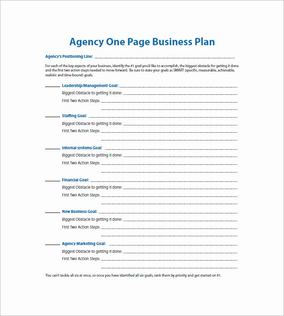 One Page Proposal Template Doc New E Page Business Plan Template