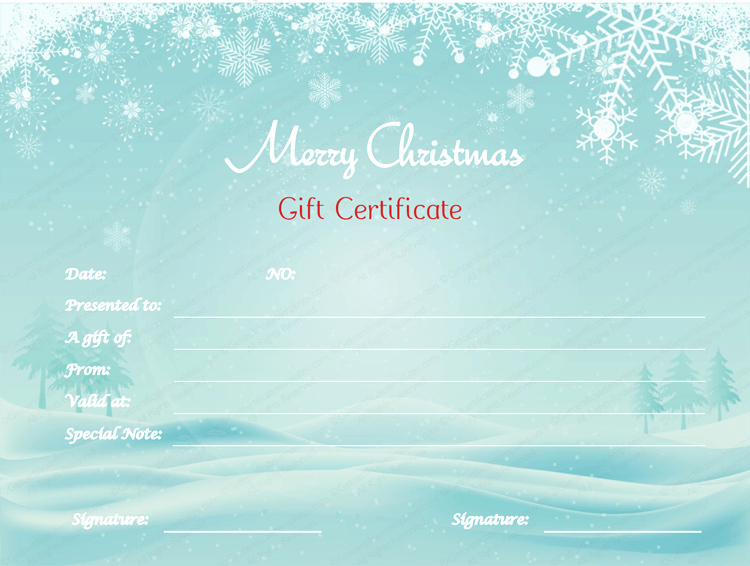 Open Office Gift Certificate Template Beautiful Love N Snow Gift Certificate Template