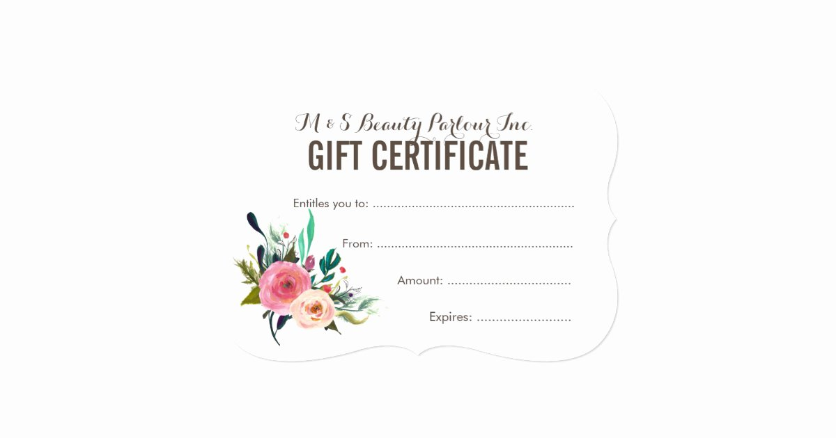 painted floral salon t certificate template