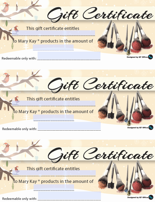 Open Office Gift Certificate Template New Anne Hanson Mary Kay Sales Diretor Us Tc Christmas