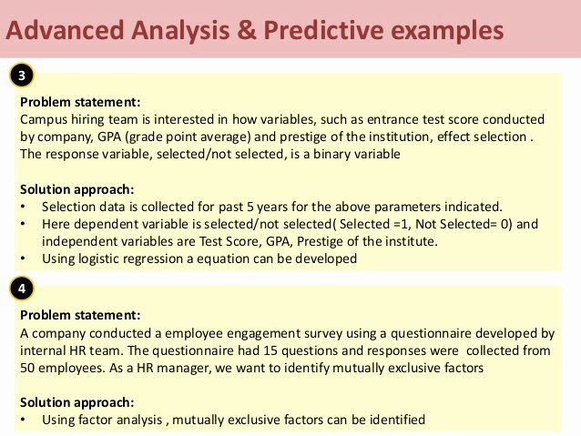 Opportunity Statement Examples Luxury Advanced Analysis & Predictive Examples