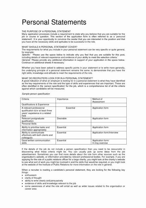 Opportunity Statement Examples Unique 20 Success Templates Personal Statement On Resume and