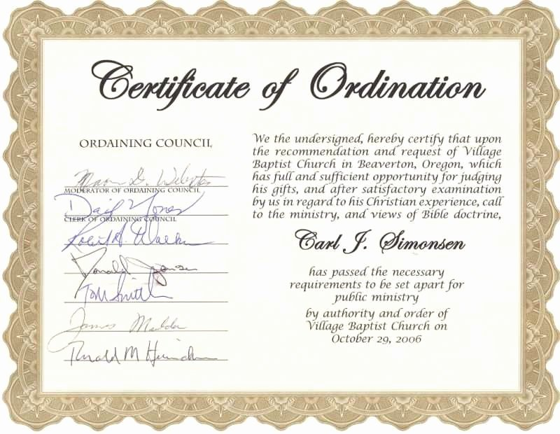 Ordained Minister Certificate Template Awesome Minister ordination Certificate Great Certificate