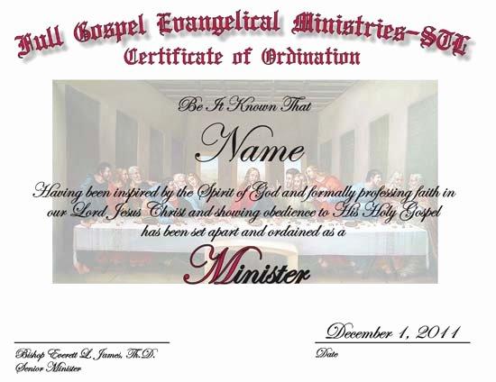 Ordained Minister Certificate Template Beautiful Minister ordination Script