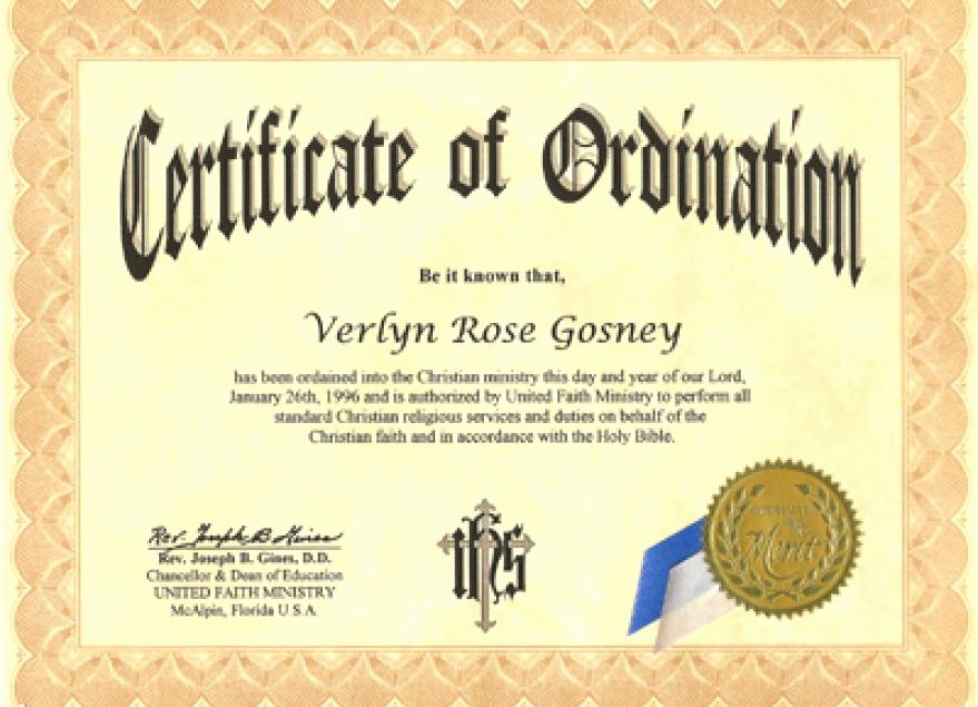 Ordained Minister Certificate Template Best Of ordained Minister Certificate