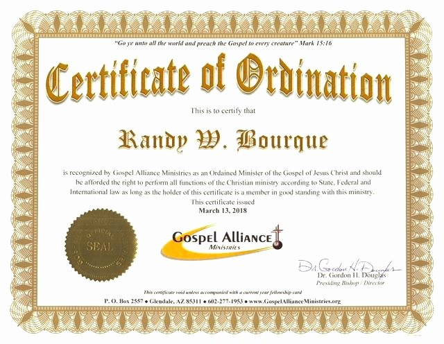 Ordained Minister Certificate Template Fresh ordained Minister Certificate