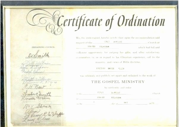 Ordained Minister Certificate Template New ordained Minister Certificate