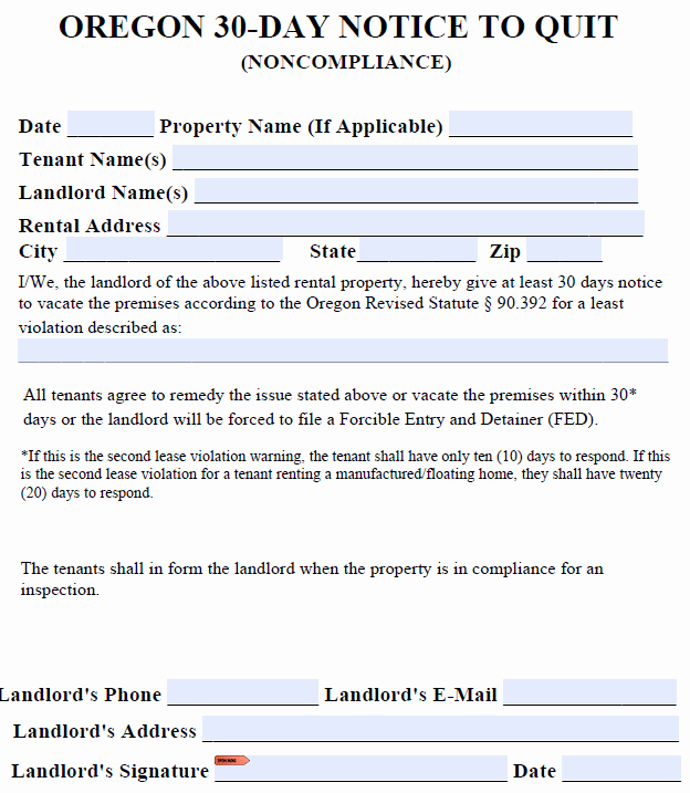 Oregon 30 Day Eviction Notice Template Lovely Free oregon Eviction Notice Templates