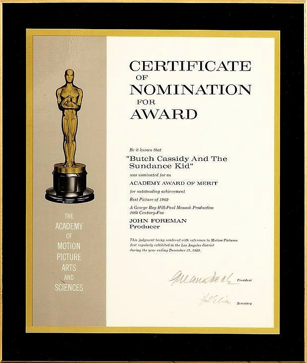 Oscar Award Trophy Template Unique Academy Award Certificate Of Nomination for butch Cassidy An