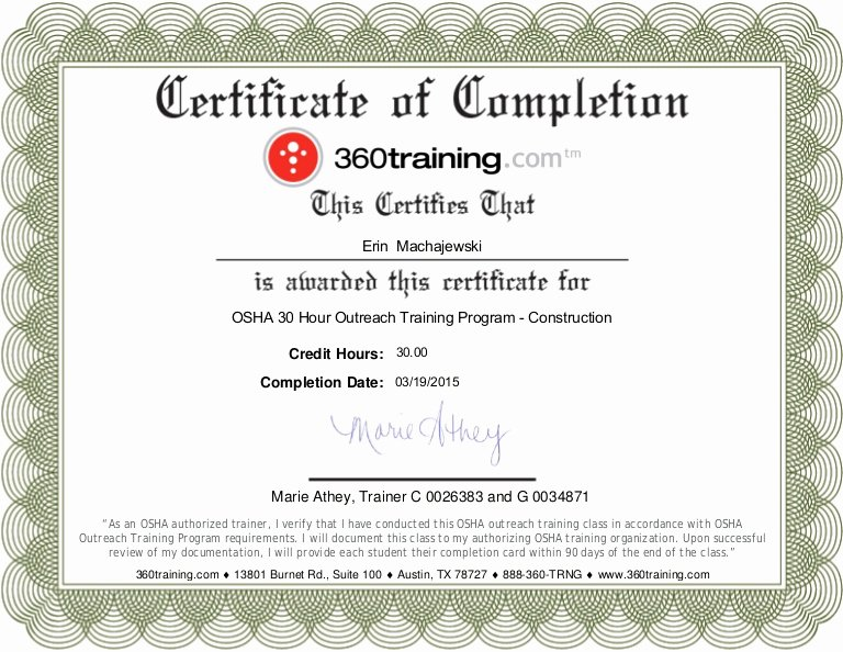 Osha 30 Certificate Template Awesome Osha 30 Hr Certificate