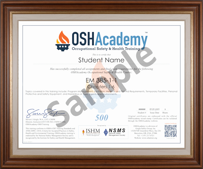 Osha 30 Certificate Template Awesome Oshacademy 2014 40 Hour Em 385 1 1 Construction Safety