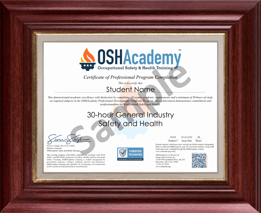 Osha 30 Certificate Template Best Of Oshacademy 30 Hour General Industry Safety and Health