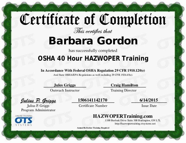Osha 30 Certificate Template Inspirational 40 Hour Hazwoper Training Certificate