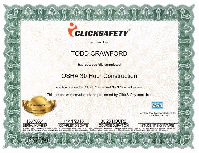 Osha 30 Certificate Template Inspirational Osha 30 Hour Certificate[1]