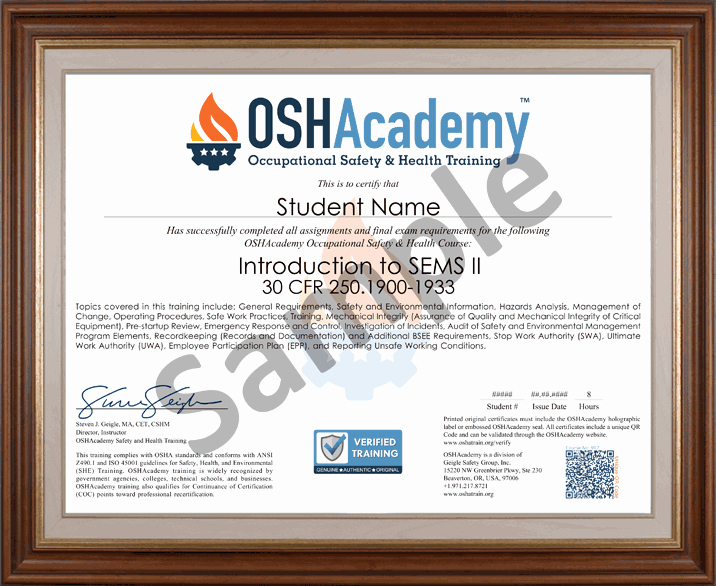 Osha 30 Certificate Template Lovely Fshore Oil Gas Sems Ii Oshacademy Free Safety Training