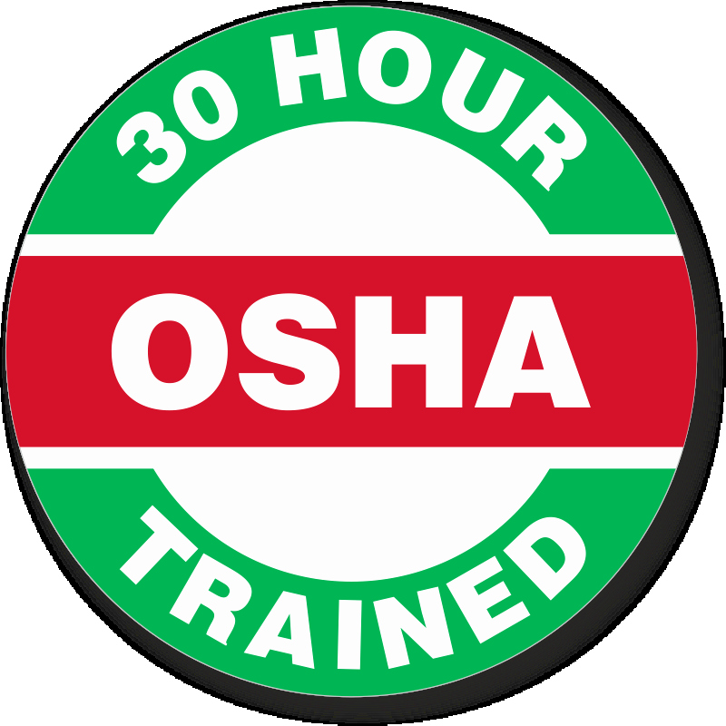Osha 30 Certificate Template Luxury Osha 30 Hour Trained Hard Hat Decals Signs Sku Hh 0490