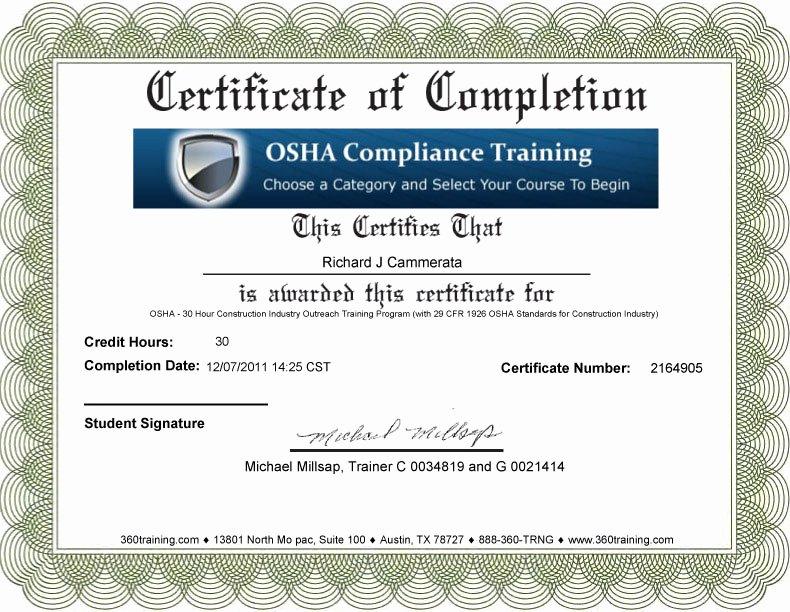 Osha Training Certificate Template Best Of 21 Of Osha Training Card Template for Contruction