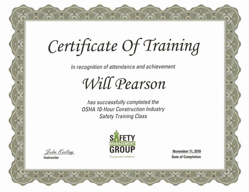 Osha Training Certificate Template Elegant Best Ideas for Osha 10 Certificate Template with Letter
