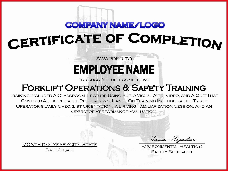 Osha Training Certificate Template Elegant forklift Training Certificate Template Free