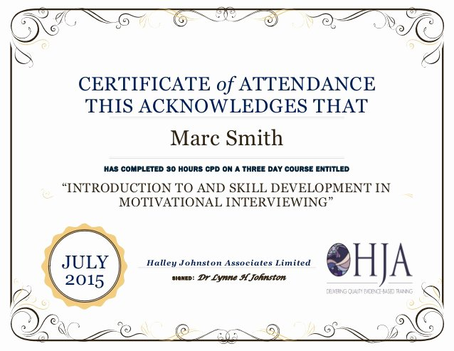 marc smith certificate of attendance intro 2015