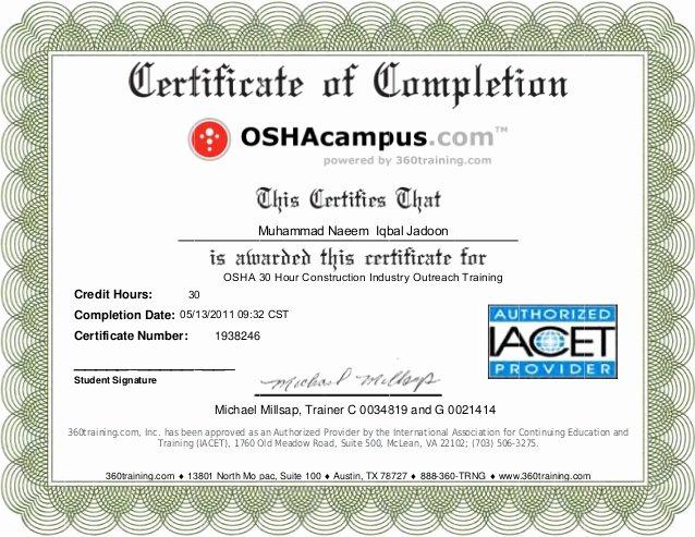 Osha Training Certificate Template Fresh Osha Certificate