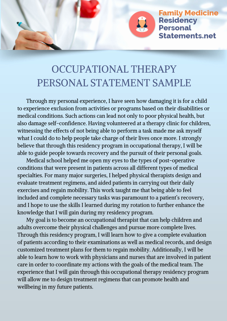 Ot Personal Statements New top Quality Family Medicine Residency Personal Statement