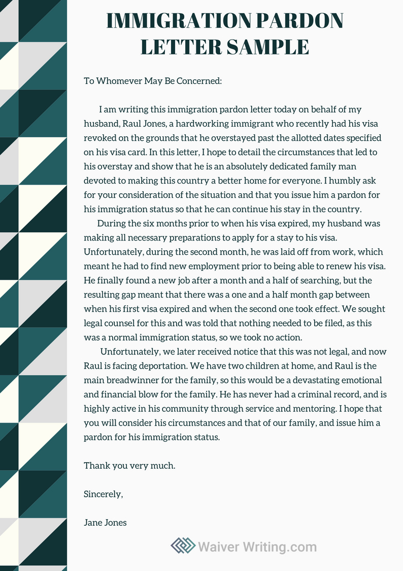 Pardon Letter Examples Luxury Winning Immigration Pardon Letter