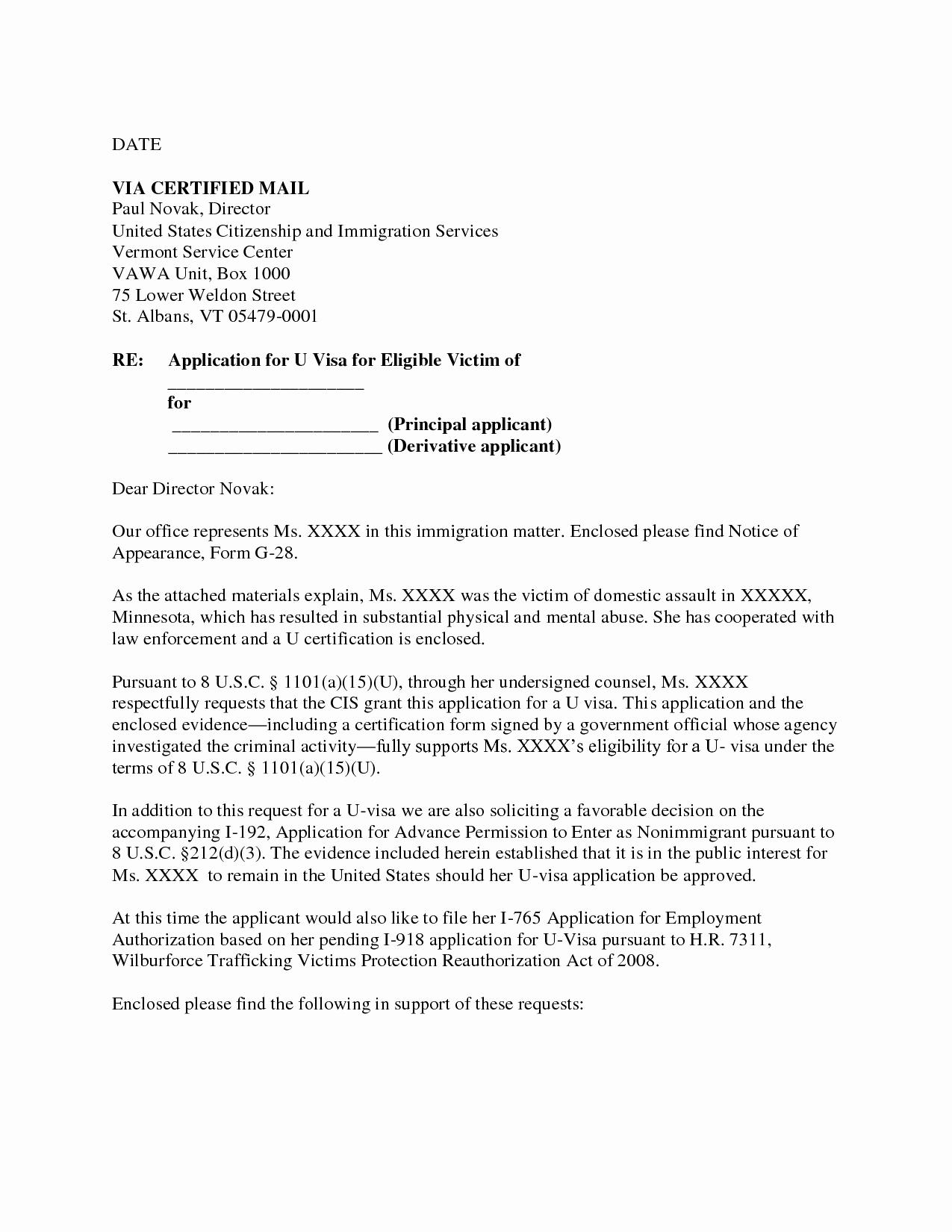 Pardon Letters for Immigration Luxury Letter Example Waiver Letter for Immigration Sample