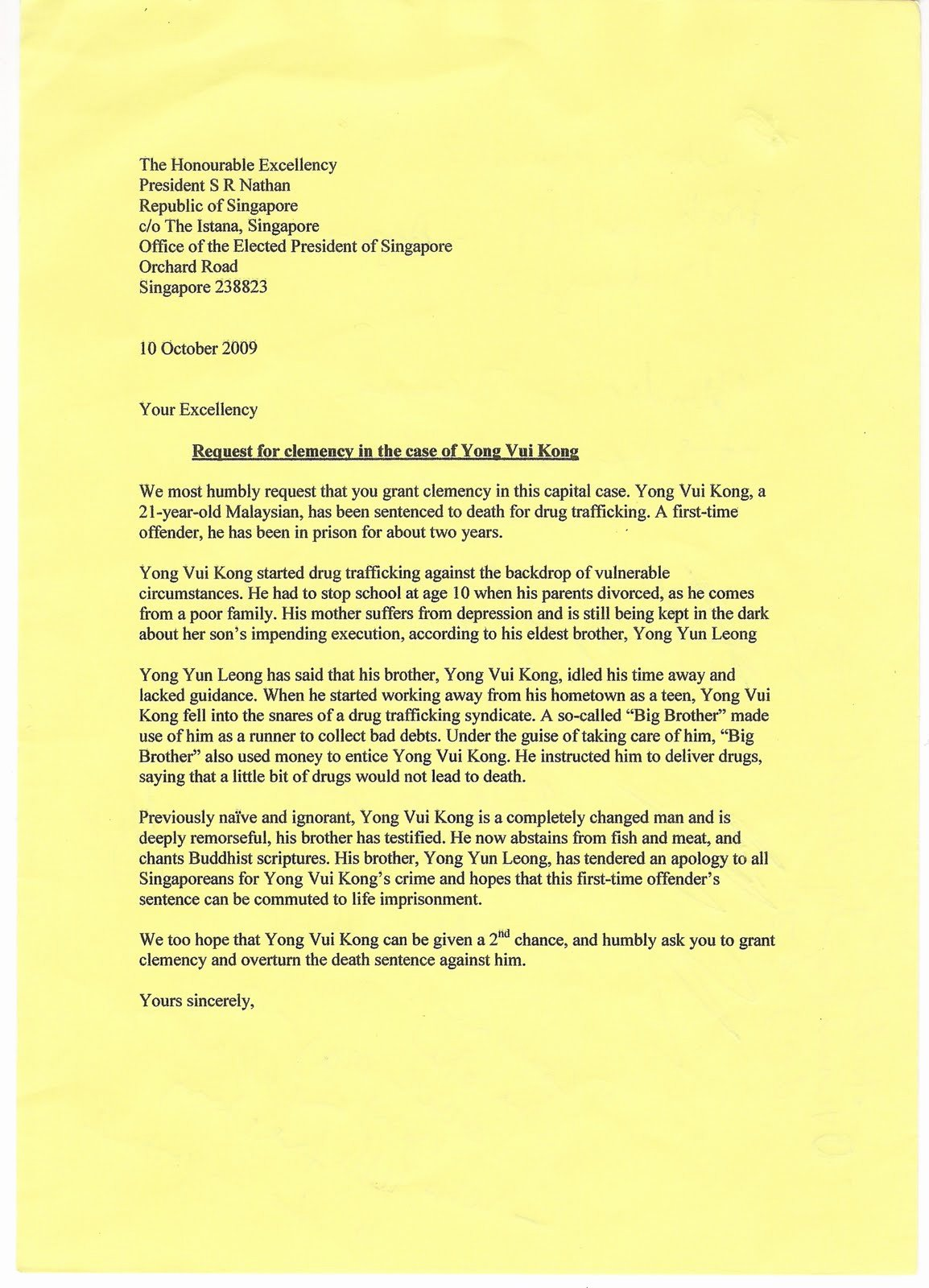 Pardon Letters Samples Best Of Petition for Clemency Of Yong Vui Kong Denied