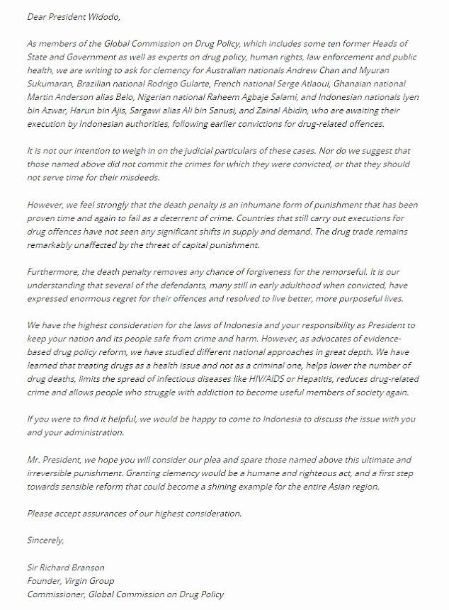 Pardon Letters Samples Luxury Richard Branson Pens Letter to President Joko Widodo for