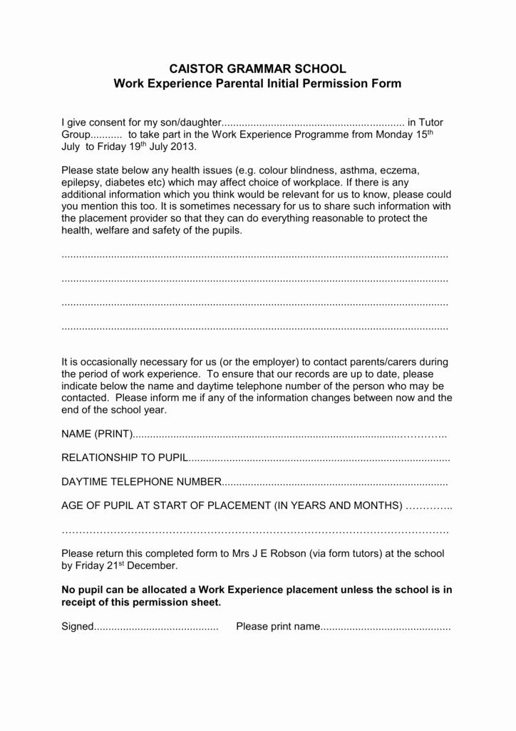 Parental Consent form for Work Elegant Parental Consent Work Experience