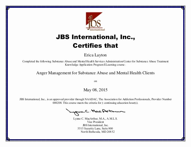 Parenting Class Certificate Of Completion Template Luxury Kap Anger Management Certificate